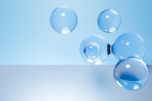 Illustrazione 3d di un metaball trasparente con un numero enorme di parti su sfondo blu