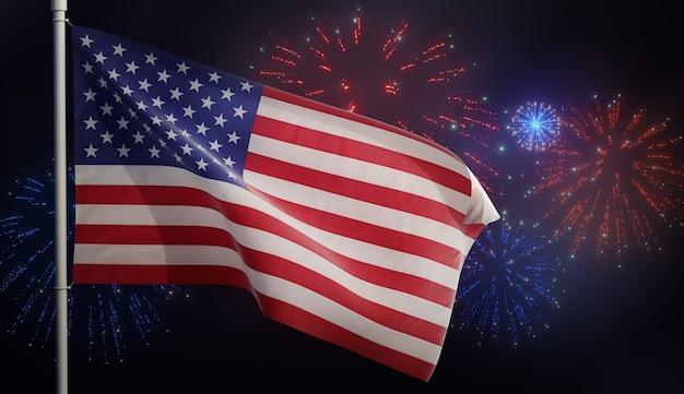 Illustrazione 3d della bandiera americana degli stati uniti che fluttua nel vento con i fuochi d'artificio