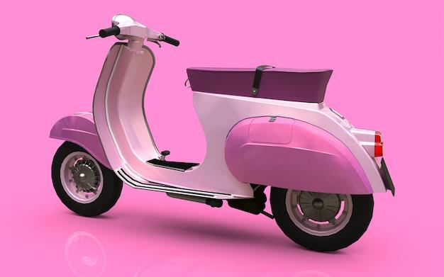 Illustrazione 3d. scooter rosa europeo vintage su sfondo rosa. rendering 3d.