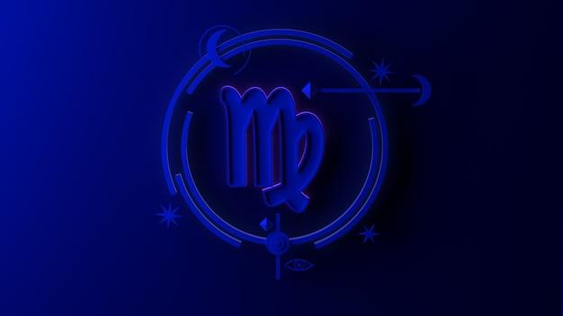 Illustrazione 3d del segno zodiacale vergine su sfondo scuro. oroscopo. tarocchi.