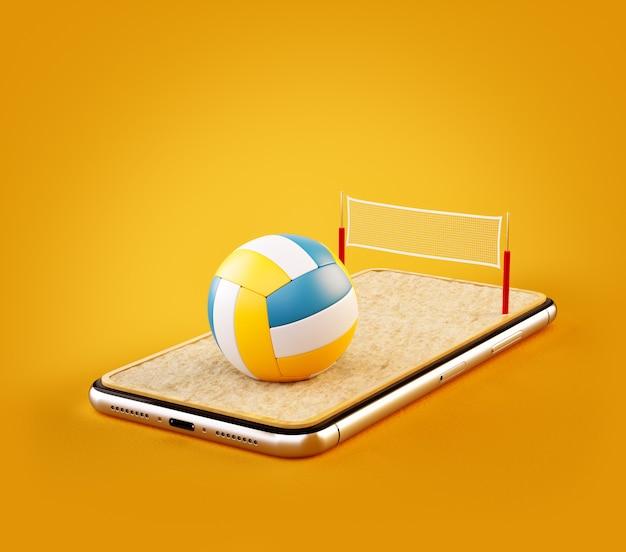 Illustrazione 3d di una palla da pallavolo e in campo sullo schermo di uno smartphone