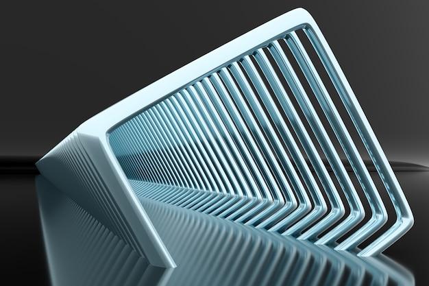 Strati quadrati blu volumetrici dell'illustrazione 3d su un fondo monofonico geometrico.