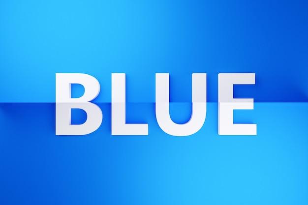 Iscrizione volumetrica dell'illustrazione 3d in lettere bianche blu su una priorità bassa isolata blu brillante. simbolo di colore