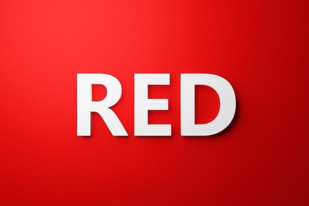 Iscrizione volumetrica dell'illustrazione 3d in lettere bianche rosse su sfondo isolato rosso brillante. simbolo di colore