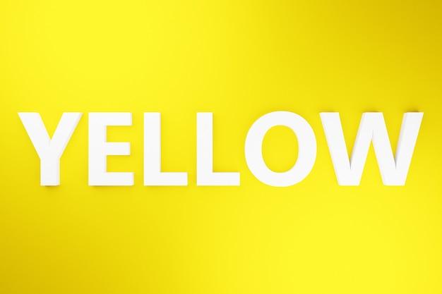 Iscrizione volumetrica dell'illustrazione 3d in lettere bianche gialla su sfondo isolato giallo brillante. simbolo di colore