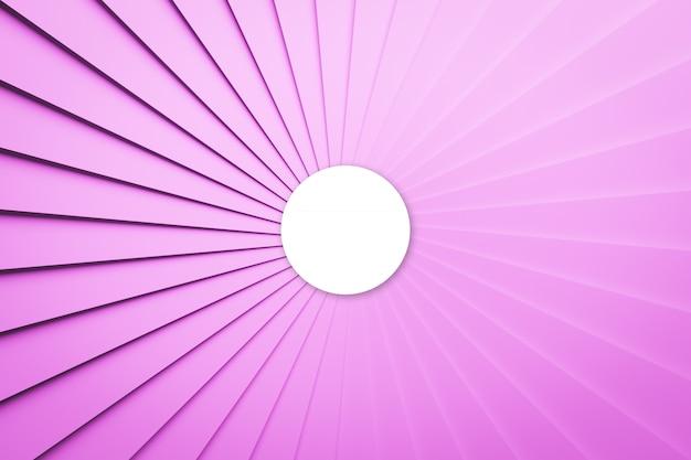 Illustrazione 3d volumetrica palla rosa e bianca su uno sfondo geometrico monofonico. motivo a parallelogramma. priorità bassa al neon della geometria di tecnologia