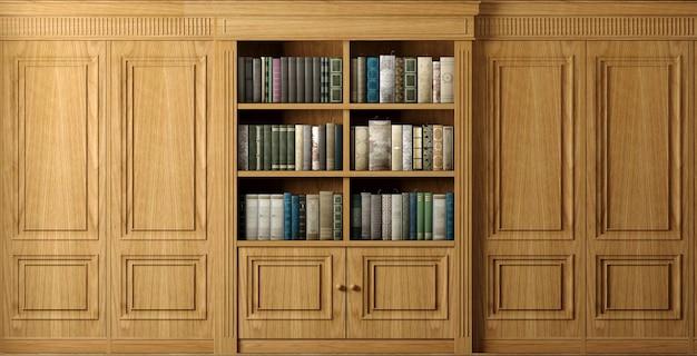 Illustrazione 3d. libreria classica in legno da parete o biblioteca studio o soggiorno, didattica