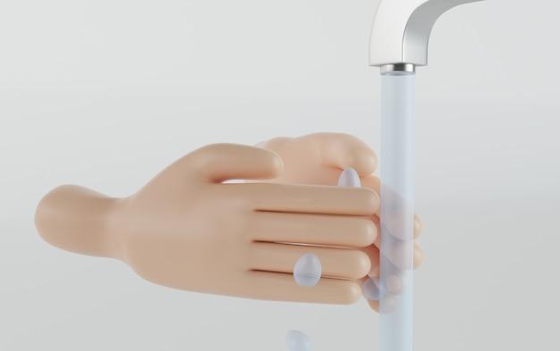 Illustrazione 3d. lavarsi le mani per prevenire l'infezione. covid19.
