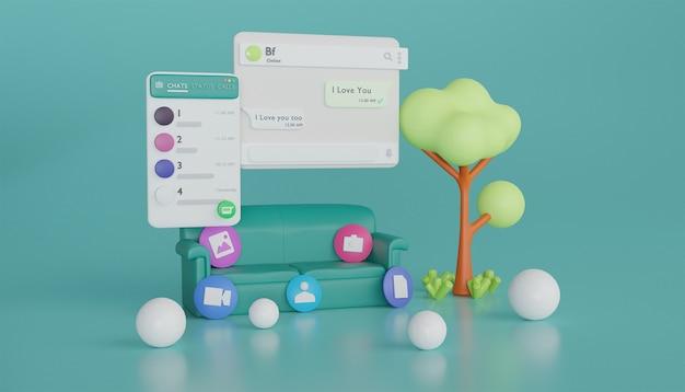Illustrazione 3d dell'albero del divano dell'interfaccia di whatsapp