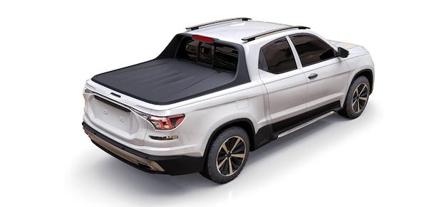 Illustrazione 3d del camioncino del carico di concetto bianco sulla superficie isolata bianca