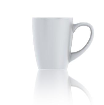 Tazza di tè bianca dell'illustrazione 3d. tazza bianca su bianco.