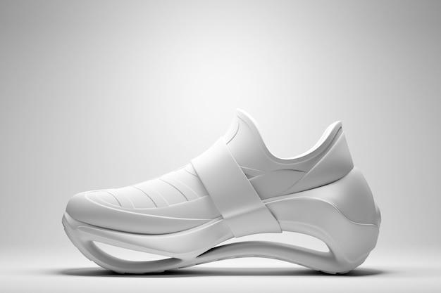 3d illustrazione bianche nuove scarpe da ginnastica sportive su un'enorme suola in schiuma su sfondo bianco isolato, scarpe da ginnastica in uno stile brutto.
