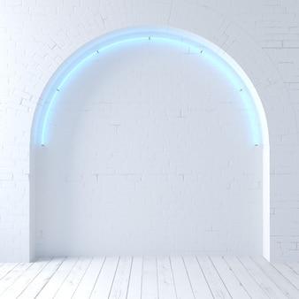 Illustrazione 3d. vecchio loft ad arco in mattoni bianchi con neon. banner o meme sul muro di sfondo