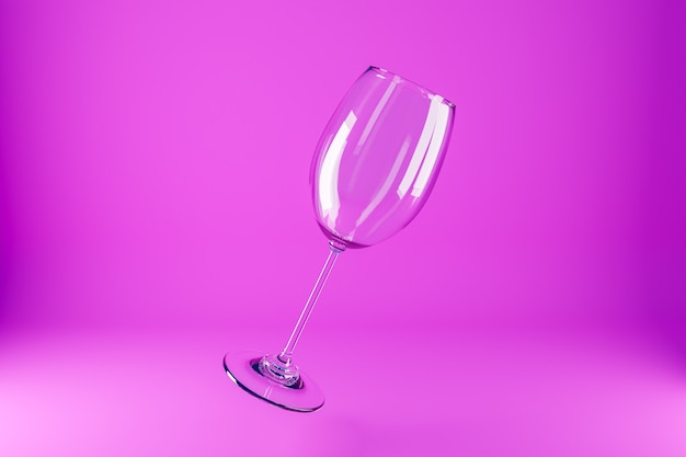 Illustrazione 3d di bicchieri di vino. bicchieri di vino per alcool che volano su uno sfondo rosa