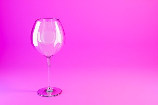 Illustrazione 3d di bicchieri di vino. bicchieri di vino per alcolici su uno sfondo rosa