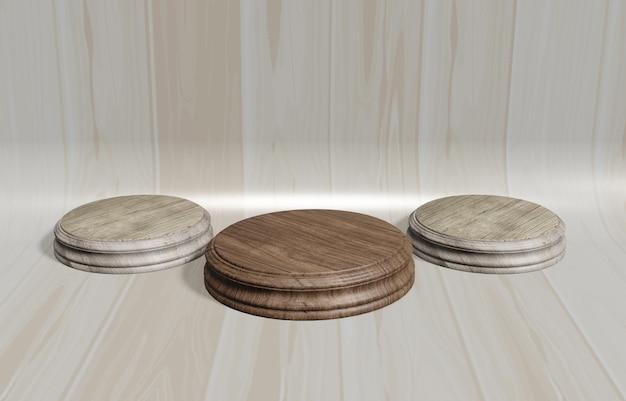 Illustrazione 3d espositore in legno, stand di design, pallet rotondo vuoto con sfondo in legno curvo marrone per il posizionamento del prodotto e la pubblicità