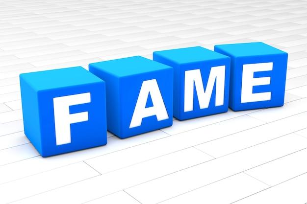 Illustrazione 3d della parola fama