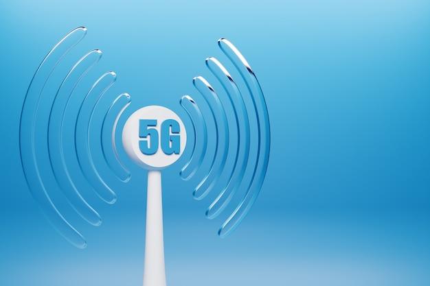 Illustrazione 3d di una connessione cellulare funzionante wi-fi, 5g su sfondo blu.