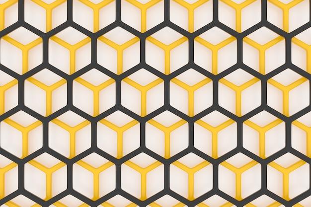 Illustrazione 3d di un favo monocromatico a nido d'ape giallo e nero per miele.