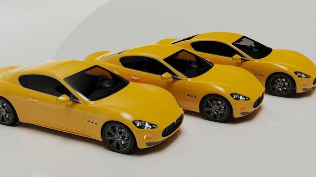 Illustrazione 3d di automobili gialle su una superficie bianca