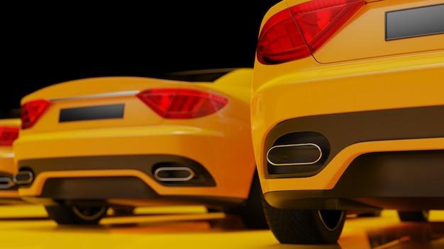 Illustrazione 3d di automobili gialle su una superficie gialla