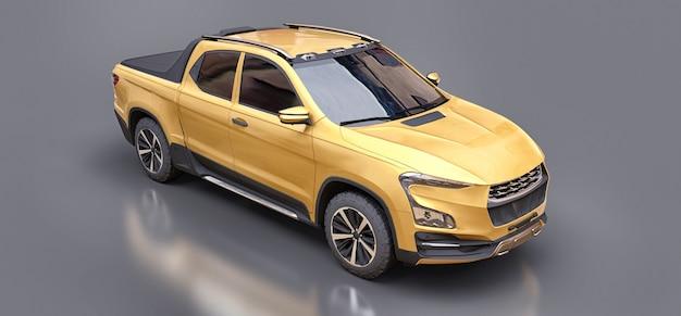 Illustrazione 3d del camioncino del carico di concetto giallo su fondo isolato grigio. rendering 3d.