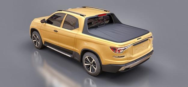 3d illustrazione del concetto giallo cargo pickup truck su sfondo grigio isolato. rendering 3d.
