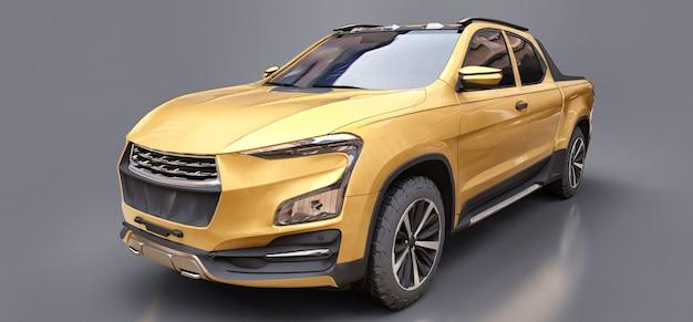 Illustrazione 3d del camioncino del carico di concetto giallo su superficie isolata grigia