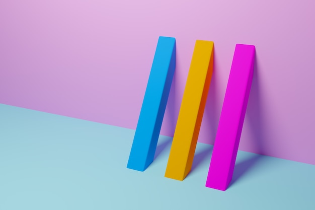 Illustrazione 3d modello giallo, rosa e blu in stile ornamentale geometrico. fondo geometrico astratto, struttura. pattern pavimento a mosaico