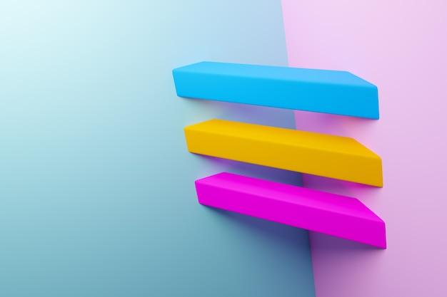Illustrazione 3d modello giallo, rosa e blu in stile ornamentale geometrico.