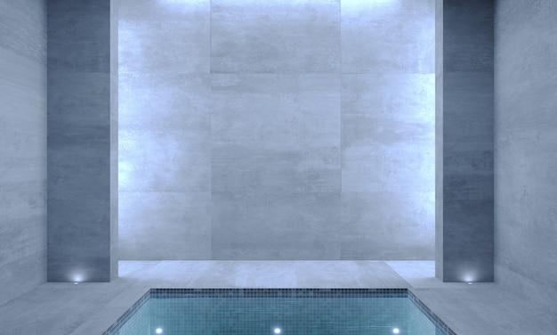 Illustrazioni 3d. interno di una moderna piscina.