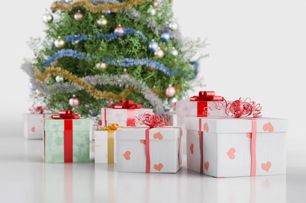 Illustrazione 3d di un albero di natale con ornamenti e regali. isolato su bianco.