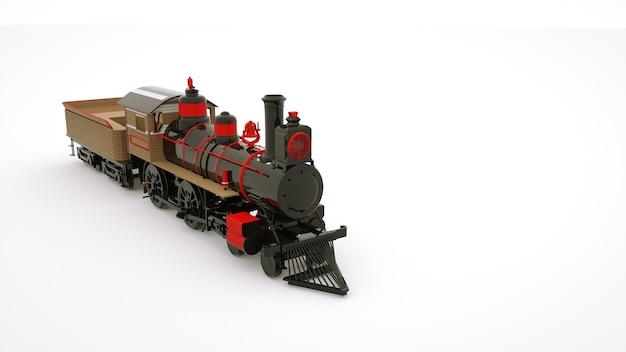 Immagine 3d di una locomotiva ferroviaria. carrozza del treno ferroviario, elemento di design su uno sfondo bianco.