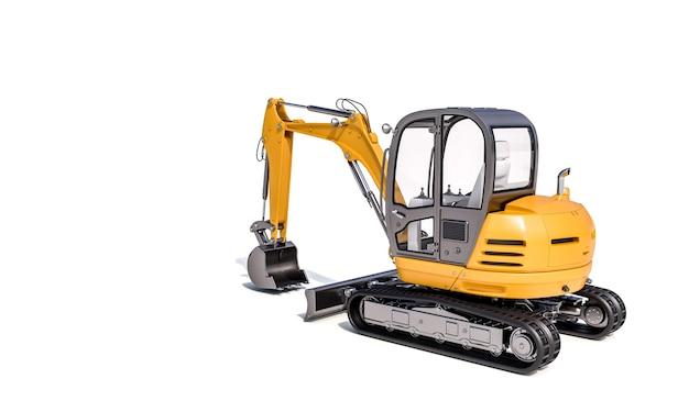 Immagine 3d di un piccolo escavatore su un muro bianco