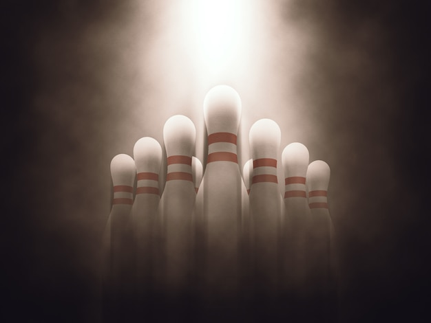 Immagine 3d di birilli birilli dieci pin con illuminazione lunatica