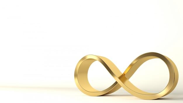 Interno del segno dell'oro di infinito 3d