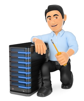 Tecnico informatico 3d con un server