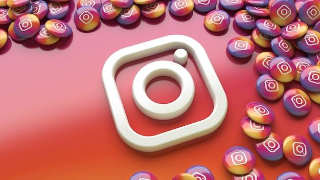 Logo di instagram 3d su uno sfondo colorato sfumato circondato da un sacco di pillole lucide di instagram