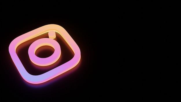 Logo di instagram 3d con bagliore al neon
