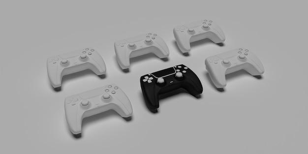 Immagine di alta qualità del controller di gioco joystick 3d resa con superficie bianca