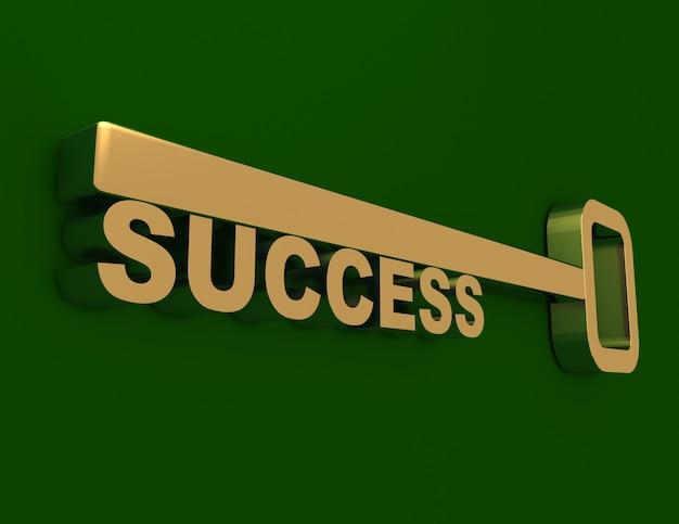 Chiave 3d per il successo. illustrazione 3d