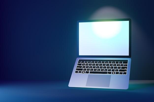 Computer portatile 3d con schermo luminoso aperto su sfondo blu scuro. rendering dell'illustrazione 3d.
