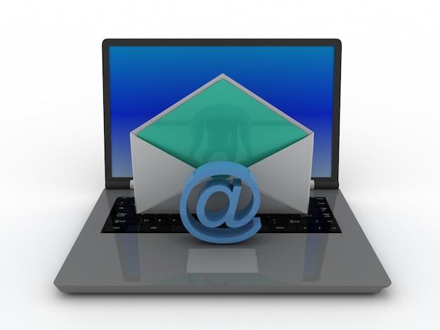 Computer portatile 3d e concetto di posta elettronica.
