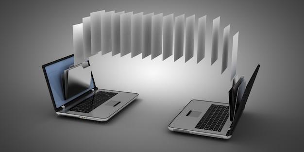 Computer portatile 3d e cartella. illustrazione 3d