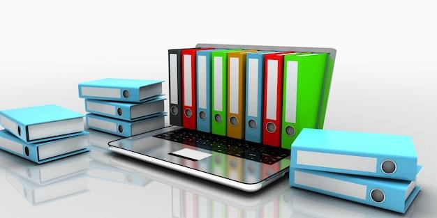 3d concetto di cartella del computer portatile