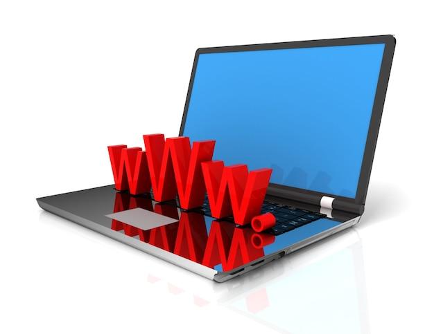 Computer portatile 3d che mostra www