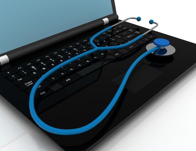 Stetoscopio del computer portatile 3d. illustrazione resa 2d