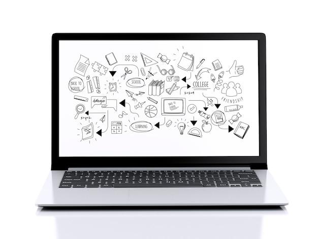 Computer portatile 3d con istruzione skecth sullo schermo