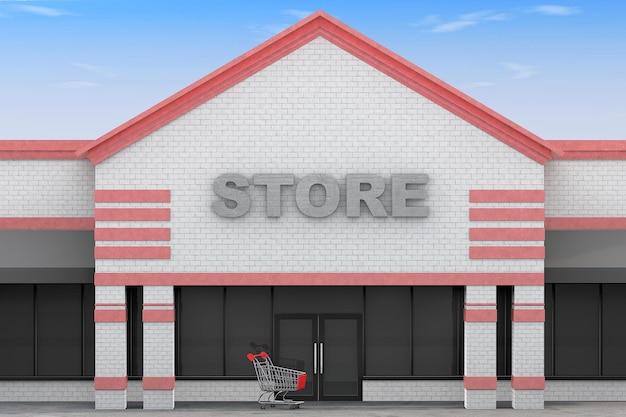 Edificio grande negozio 3d su uno sfondo di cielo blu