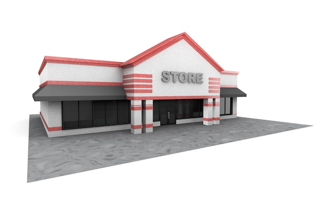 Edificio grande negozio 3d su sfondo bianco